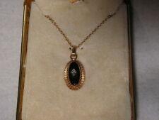 ...12K Gold Filled,Onyx,Center Diamond Pendant Necklace...