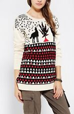 BDG Animal Games Sweater Urban Outfitters Holiday Ugly Marijuana Wolves Sweater