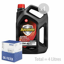 Engine Oil and Filter Service Kit 4 LITRES Texaco Havoline Extra 10w-40 4L
