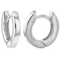 "925 Sterling Silver Polish Huggie Lady Women's Hoop Earrings 0.39"""