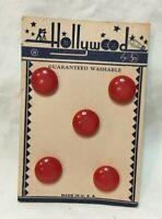 "*Vintage Set 5 HOLLYWOOD Red Plastic Buttons on Original Card 1/2"""