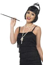 WOMENS 20s FLAPPER ACCESSORIES BLACK WIG PEARL NECKLACE HEADPIECE CIG HOLDER