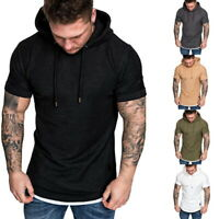 Men Hoodie Short Sleeve T-Shirts Slim Fitness Gym Blouse Tops Muscle T Shirtd h8