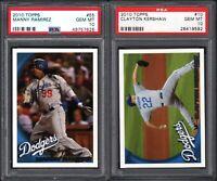 2010 Topps #10 CLAYTON KERSHAW Los Angeles Dodgers PSA 10 GEM MINT (2) CARD LOT