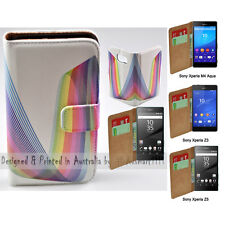For Xperia XZ XA XP M4 Aqua Z5 Series Z3 - Rainbow Line Print Wallet Phone Case
