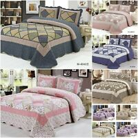 Patchwork Bedspread 3 Piece Quilt Comfort bed Throw Vintage Set Double&King size