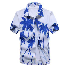 Chic Mens Short Sleeve Hawaiian Shirts Summer Beach Holiday Fancy Dress Tops