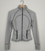Lululemon Womens Size 2 Ghost Herringbone Hustle Your Bustle Peplum Jacket