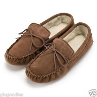 Unisex Soft Sole Tan Lambswool Moccasins - Mens & Ladies Slippers - Free Returns