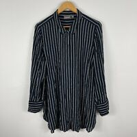 Sussan Womens Dress 14 Blue Striped Long Sleeve Collared Button Closure