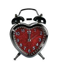 Wecker In Herzform mit LED Licht Retro 13cm Uhr Alarm Retrowecker