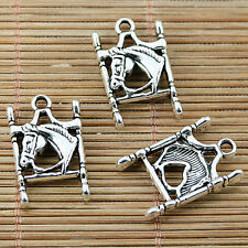 8pcs tibetan silver tone 2sided horse design charms EF1947