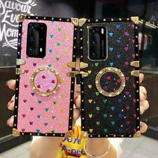 Chica de lujo para Samsung Galaxy S20 A51 A71 Square BLING Glitter Funda de corazón