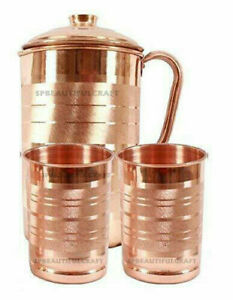 NEW Pure Copper Jug Pitcher with 2 Glass Tumbler 300ML Each For Health Benefits