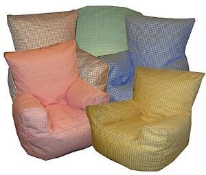 Gingham Check Bean Bag Chair (Children's, Toddler, Kids Beanbags)
