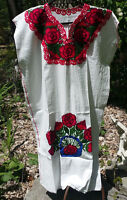 Maya Mexican Dress Embroidered Flowers Chiapas Puebla White Red Large PE
