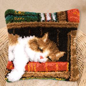 Knüpfkissen-Kits Deko-Kissenbezug selber Kissen Knüpfen für Anfänger Katze