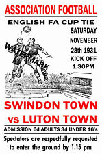 SWINDON TOWN - VINTAGE 1930's STYLE MATCH POSTER