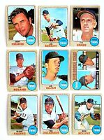 Lot of 9 1968 Topps Minnesota Twins vintage cards, Jim Roland, Rich Rollins