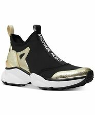 Michael Kors Willow Scuba Gold Leather Slip-On Trainer Women's Sneakers Shoes