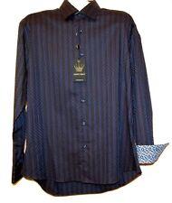 Bertigo Navy Geometric Cotton Stylish Men's Dress Shirt Sz L NEW $189