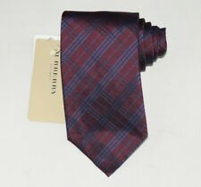 """NEW Burberry BURGUNDY Plaids Mans 100% Silk Tie Authentic Italy Made 3.5"""" 350107"""