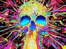 Fotografía mural de graffiti street Pared psicodelia cráneo Poster Print LV10884