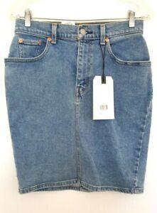 LEVI'S Ladies Designer Light Wash Denim Stretchy Pencil Skirt size 26W NWT