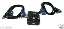 2-Port Kvm Switch + 2x Set 3-In-1 Usb Kvm Cables For Pc