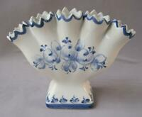 Ceramic hand made Portugal  Five Finger vase in blue and white with flower decor