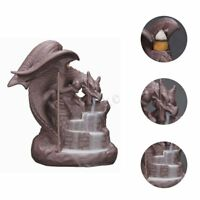 Dragon Backflow Incense Burner Cone Stick Holder Ceramic Smoke Censer Decor