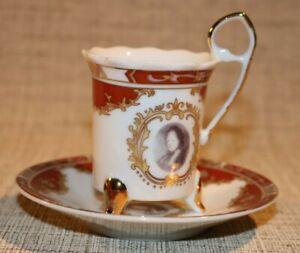 PL2-11) Porzellan alte Sammeltasse Mokka Tasse Mokkatasse Adelsbild Dekor bordea