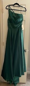 $240 One Shoulder Emerald Green Satin Dress Ball Gown New NWTBridesmaid Wedding