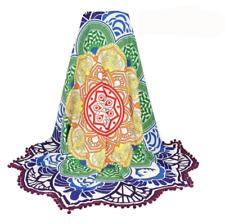 Lotus Mandala Tapestry Throw Beach Meditation Blanket, Rainbow Colorful Chakra