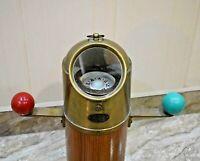 Antique Sestrel Brass Binnacle Gimbals Marine Compass Wooden Stand (Brass)