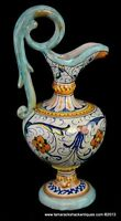 "Art Pottery Handled Ewer Vase Thin Neck Green Blue Orange Yellow 9 1/2"" Vintage"