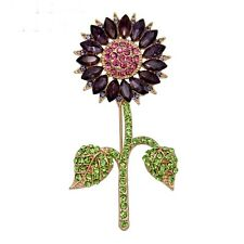 green unsigned famous designer Nwot Crystal sunflower brooch pin purple and