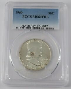 1960 P Franklin Half Dollar Coin - PCGS MS64FBL Certification# 81295012