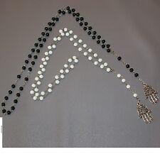 Lot de 2 CHAPELET SAUTOIR Collier Main de FATMA KAMSA 70cm  NOIR + BLANC NEUF