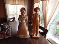 "Hand Carved, Early American Pioneer  Figures, about 24"" and 22 "" tall. Excellent"