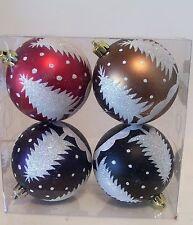4 RED PURPLE BLACK GLITTER SHATTER RESISTANT CHRISTMAS ORNAMENTS DECORATION