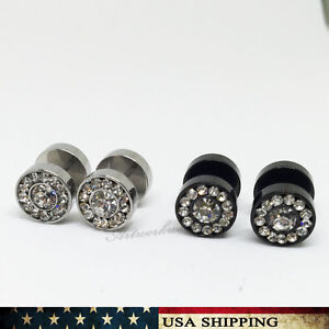 Dumbbell Stainless Steel Rhinestone Unisex Men's Women's Earrings Ear Studs Gift