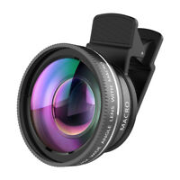 For iPhone Camera Lens Macro Lens & Wide Angle Lens Kit Clip-On Cell Phone
