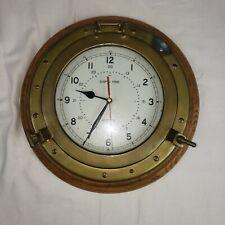 Vintage Brass Wod Porthole Ships Time Quartz Clock Estate Find