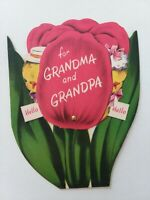 1950s Vtg MECHANICAL For GRANDMA & GRANDPA NORCROSS EASTER GREETING CARD