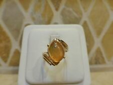 Vintage 14k yellow gold oval Mexican fire opal cabochon ring crossover bypass