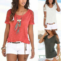 Womens Cold Shoulder Short Sleeve T Shirt Tee Casual Summer Loose Blouse Tops US
