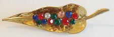 broche vintage feuille relief de couleur or décor de cristaux en couleur 271