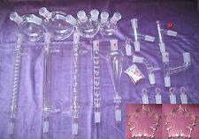 Kemtech America Advanced Organic Chemistry Lab Glassware Kit 24/40 & Metal Clips