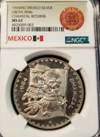 1964 MEXICO SILVER MEDAL GROVE 858a CHAMIZAL RETURNS NGC MS 63 VERY SCARCE !!!